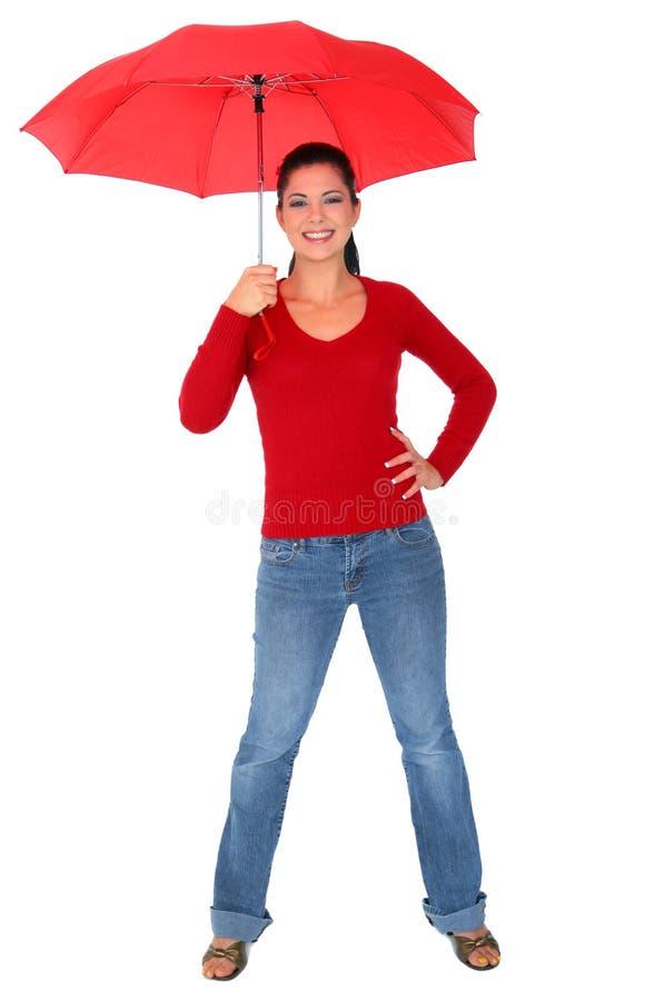 caucasian holdingparaplykvinna royaltyfria bilder