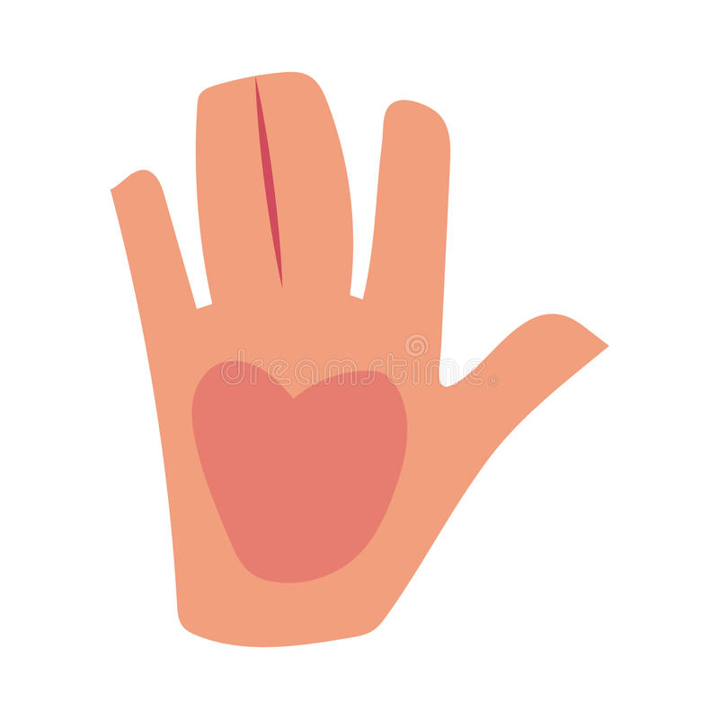 Caucasian human hand showing, giving high five, greeting, saluting symbol. Cartoon vector illustration isolated on white background. Cartoon hand showing high stock illustration