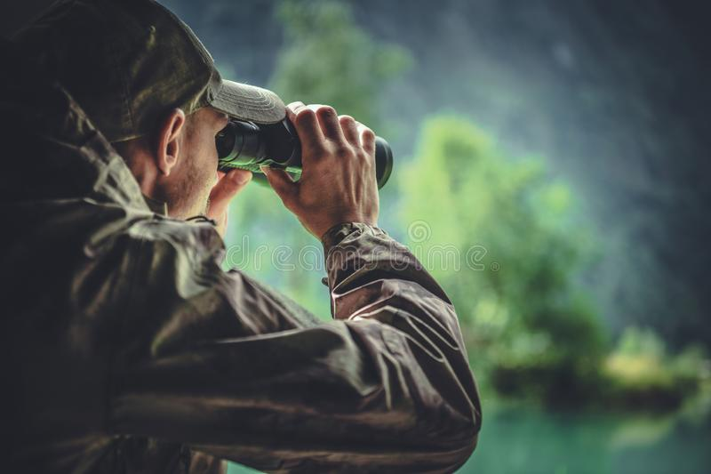 Hunter Spotting Game stock images