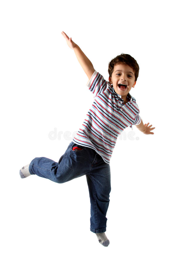 Caucasian kid jumping, isolated on white stock image