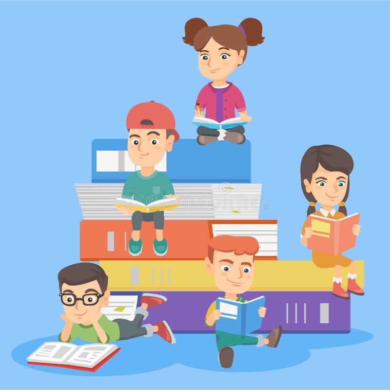 Caucasian kids reading books together. vector illustration