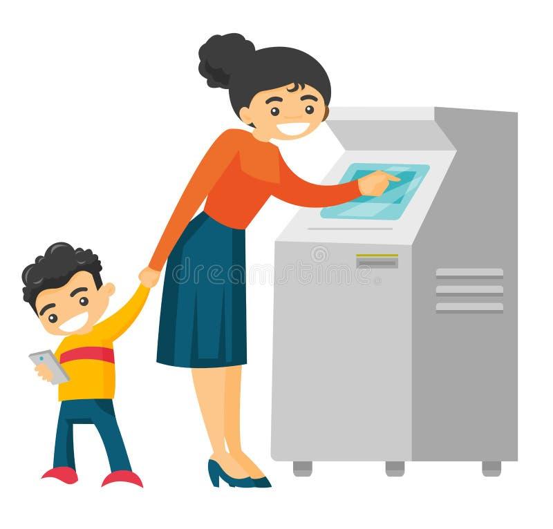 Caucasian kvinna som använder ATM för kontant tillbakadragande vektor illustrationer