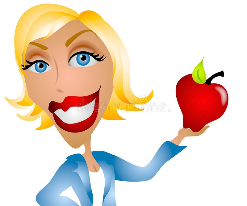 caucasian lärarekvinna för äpple stock illustrationer