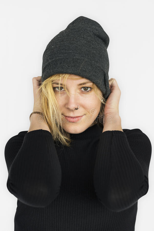 Caucasian Lady Beanie Smile Concept. Caucasian Lady Wearing Hat Beanie Smile royalty free stock image