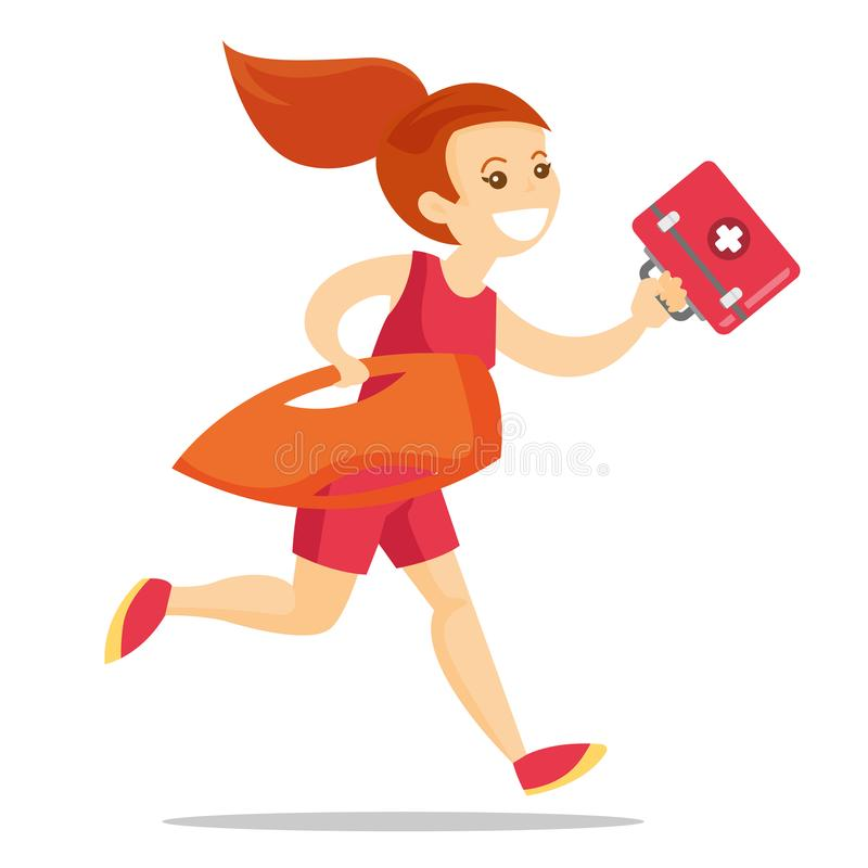 Caucasian lifeguard running with first aid box. stock illustration