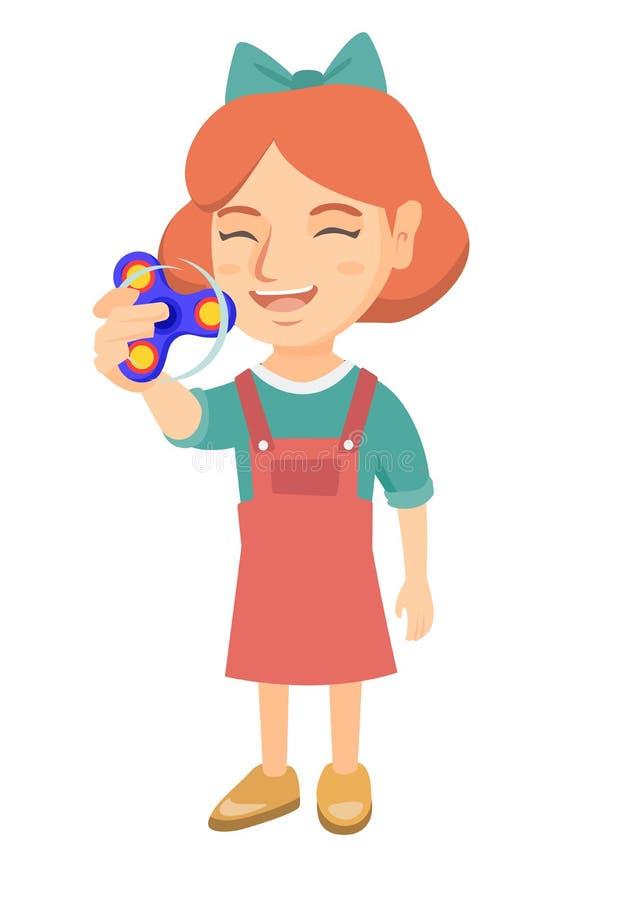 Caucasian liten flicka som spelar med rastlös människaspinnaren vektor illustrationer