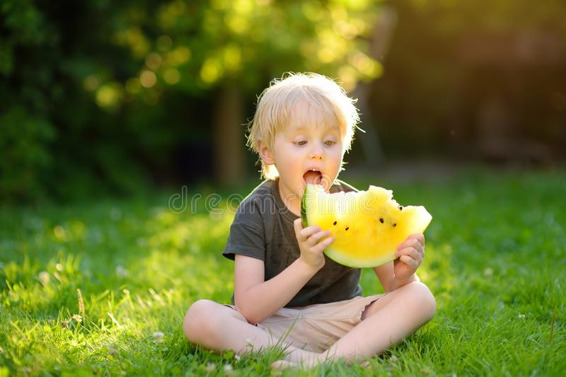 Caucasian little boy with blond hairs eating yellow watermelon on backyard. Seasonal fruits and vegetables for kids stock photography