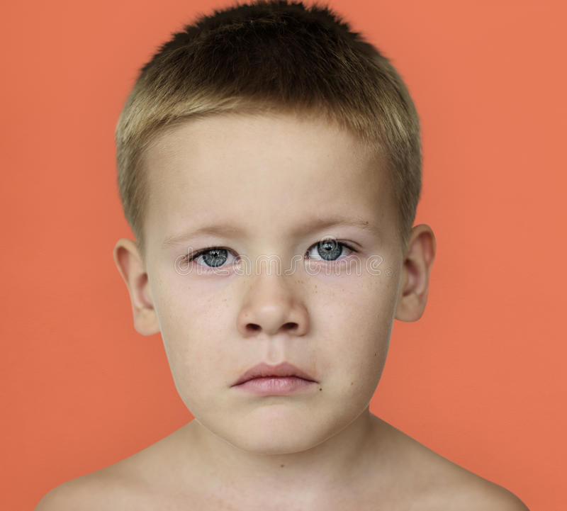 Caucasian Little Boy Frowning Bare Chested royalty free stock photos