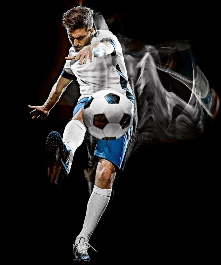 Caucasian målning för ljus för bakgrund för fotbollspelare man isolerad svart arkivbild