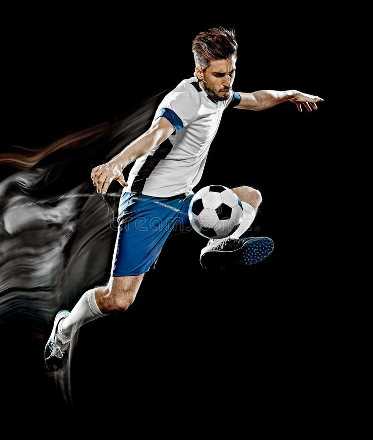 Caucasian målning för ljus för bakgrund för fotbollspelare man isolerad svart royaltyfria foton