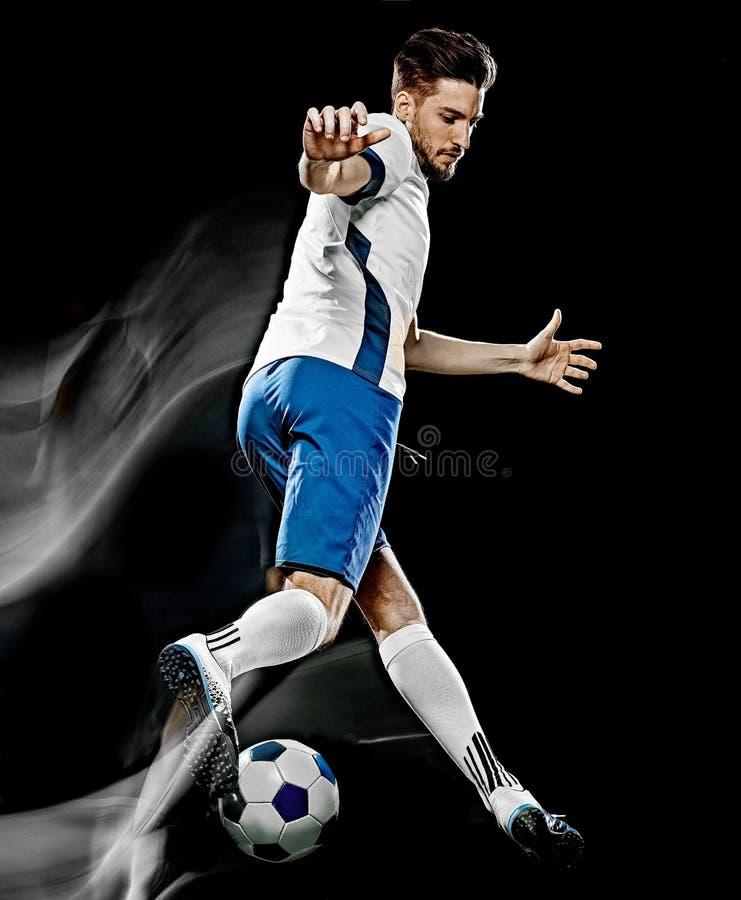 Caucasian m?lning f?r ljus f?r bakgrund f?r fotbollspelare man isolerad svart arkivbilder
