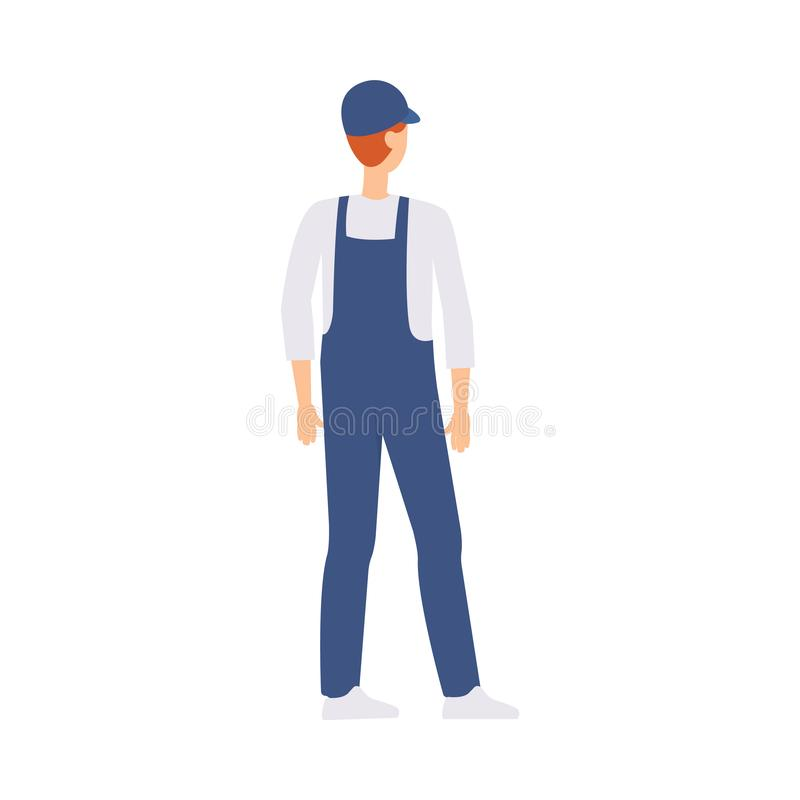 Caucasian male courier or brown haired delivery man stands with his back half a turn. vector illustration