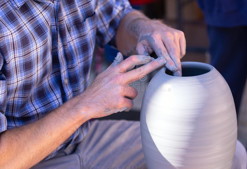 Pottery Demonstration at a Local Outdoor Event stock photos