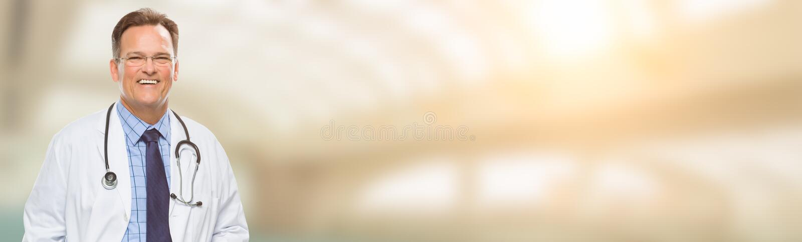 Caucasian Male Doctor, Nurse or Pharmacist Banner with Room For stock photography