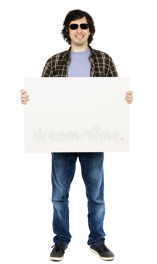 Download Smiling Casual 30's Guy With Sunglasses Holding Sign Stock Image - Image of isolated, happy: 29914355