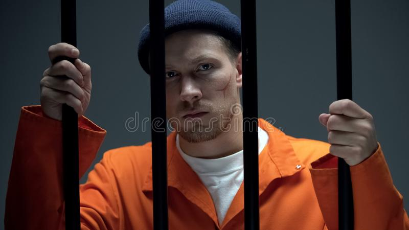 Caucasian male prisoner with scar on face holding bars and looking directly stock images