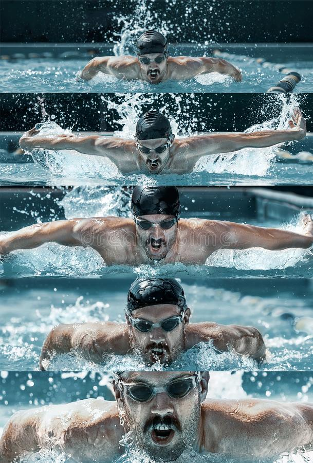 Caucasian male professional swimmer in pool. Man swimming for the highest score. Creative collage of different photos of one model. Healthy lifestyle. Concept stock photo