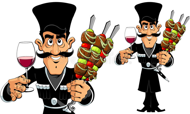 Caucasian Man with Barbecue and Wine.  royalty free illustration