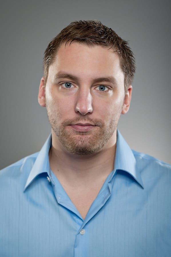 Caucasian Man Blank Expression Portrtait stock photography