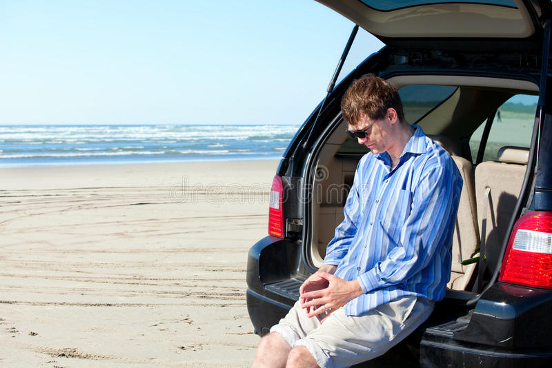 Download Caucasian Man In Car At Beach, Unhappy, Worried Expression Stock Image - Image: 34712753