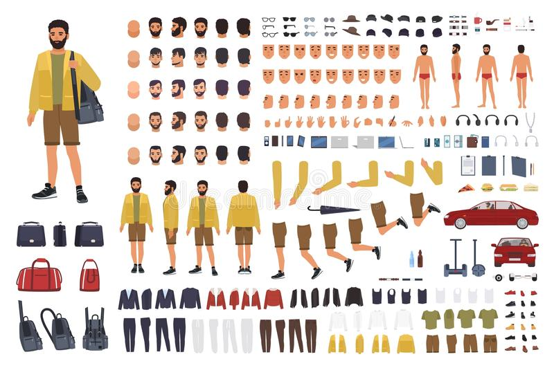 Caucasian man constructor or DIY kit. Collection of male character body parts, hand gestures, clothing isolated on white stock illustration