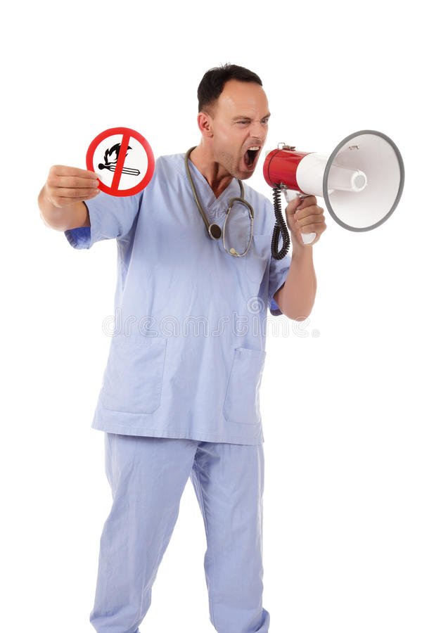 Caucasian man doctor no fire sign. Middle aged caucasian man doctor holding up no fire sign, warning white screaming in megaphone. Studio shot. White background stock images