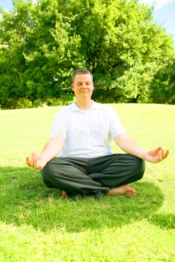 Caucasian Man Doing Meditate stock images