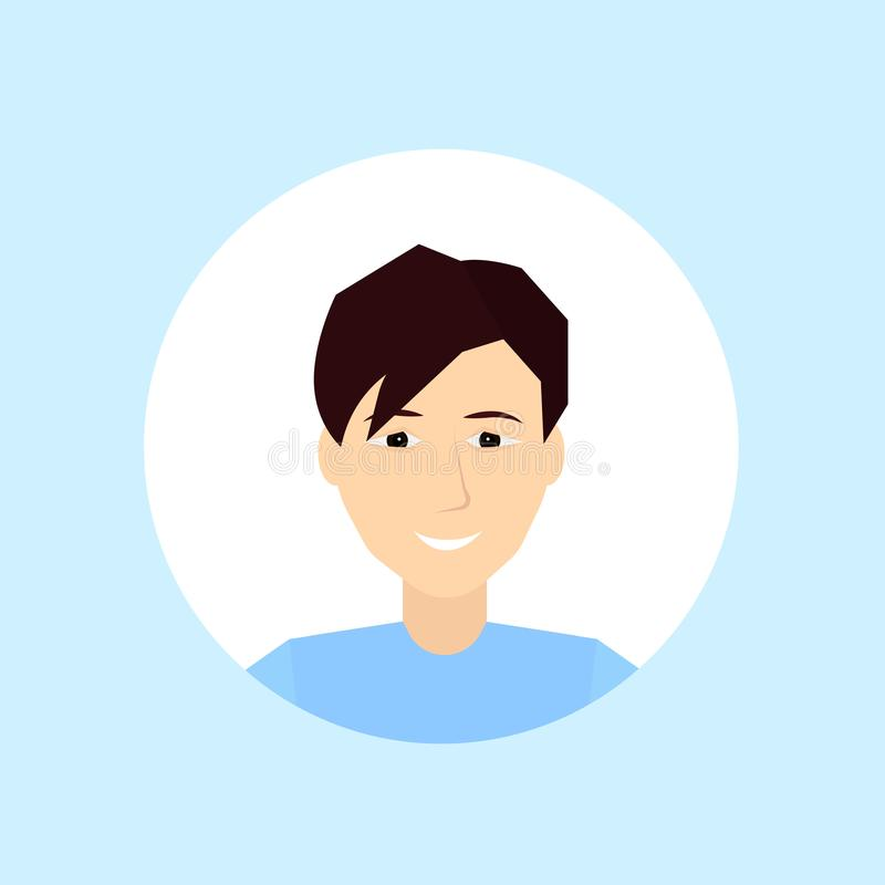 Caucasian man face happy portrait on blue background, male avatar flat. Vector illustration royalty free illustration