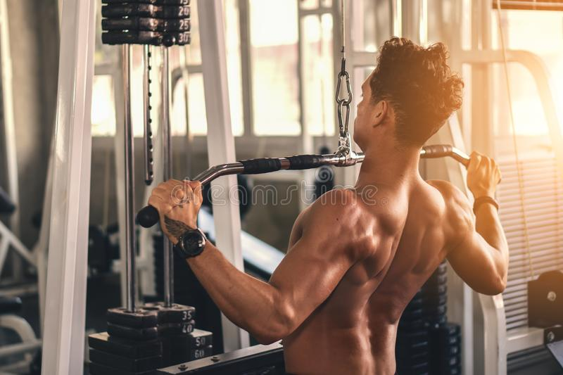 Caucasian man in fitness having workout for bodybuilding with weights lifting using gym equipment royalty free stock images