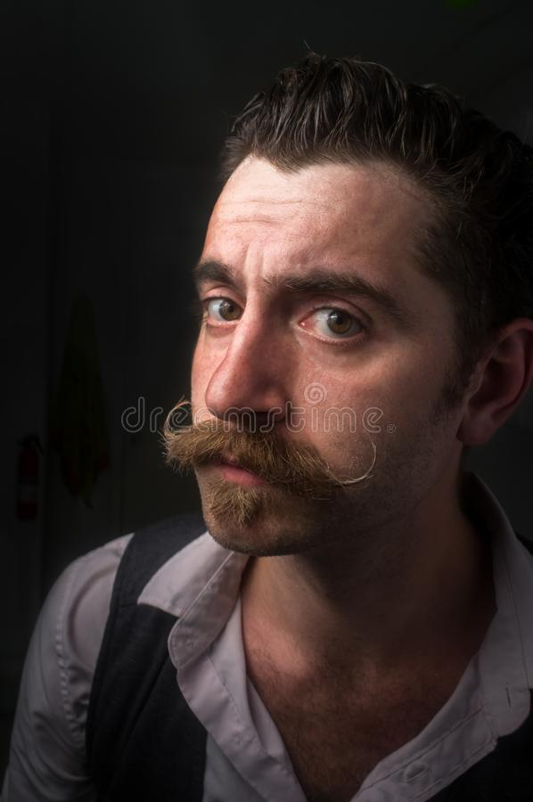Caucasian Man Handlebar Mustache royalty free stock images