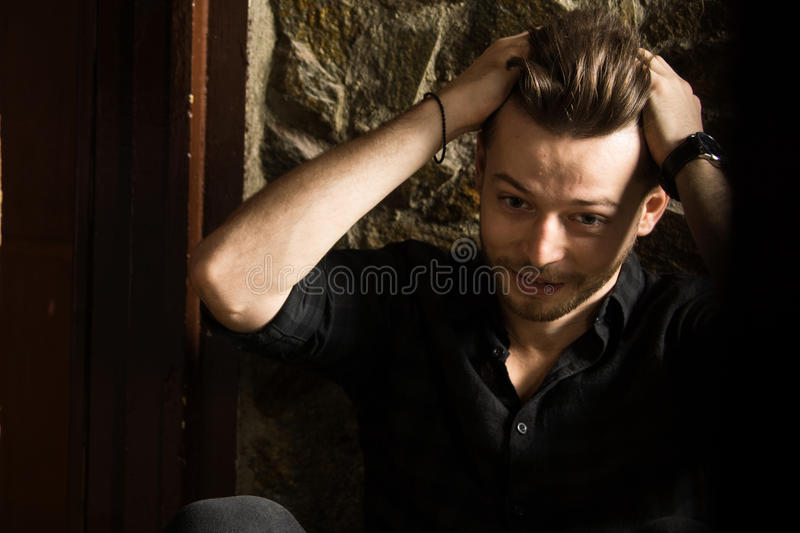 Caucasian man model. High resolution image royalty free stock photos