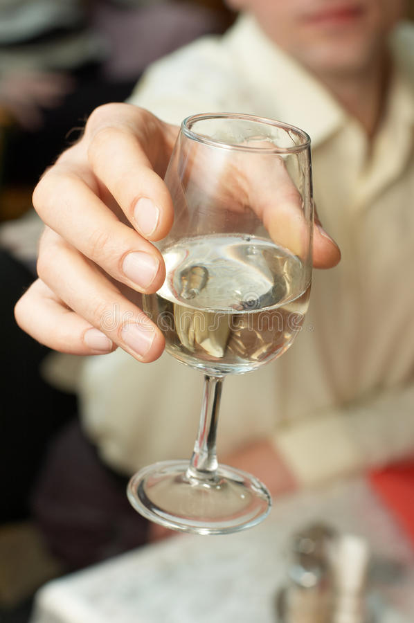 Caucasian man proposing a toast. With a glass of white wine stock photography