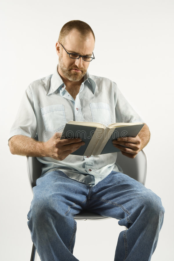 Download Caucasian Man Reading A Book. Stock Photo - Image: 2045544