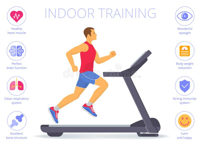 Caucasian man is running on the treadmill. Flat vector illustration. Strong caucasian man is running on the treadmill. Flat vector illustration of athletic stock illustration