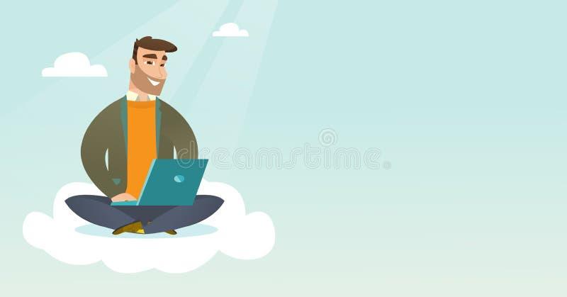 Caucasian man som använder molnberäkningsteknologier stock illustrationer