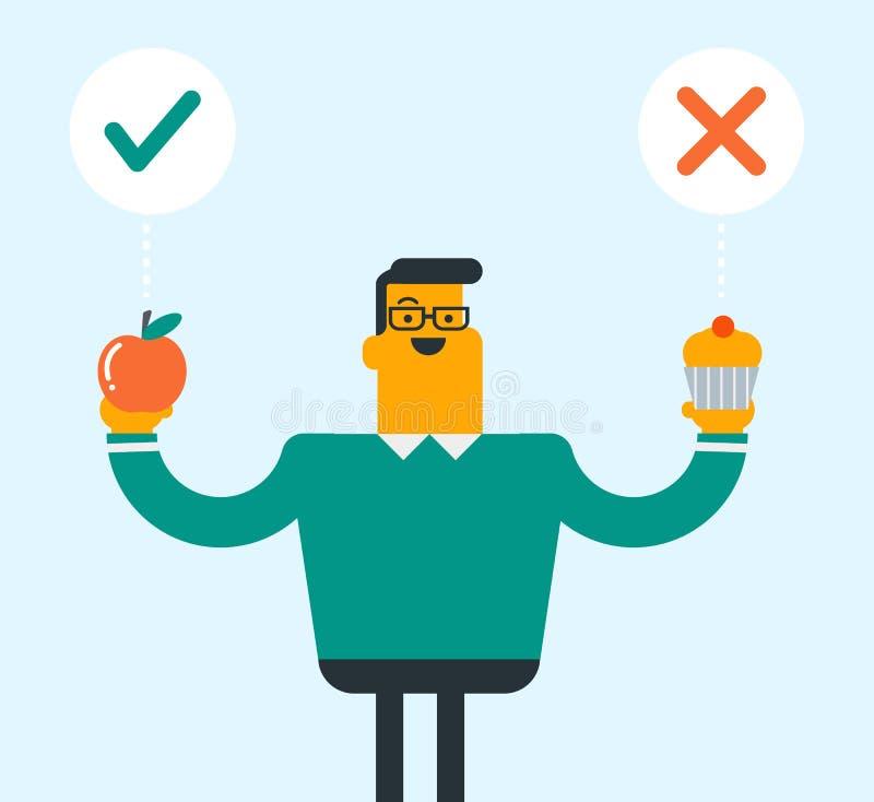 Caucasian man som väljer mellan äpplet och muffin vektor illustrationer