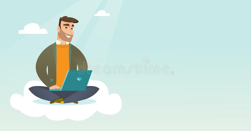 Caucasian man using cloud computing technologies. stock illustration