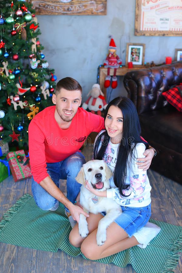 Caucasian man and woman sitting on floor with white dog near decorated Christmas tree. royalty free stock photo