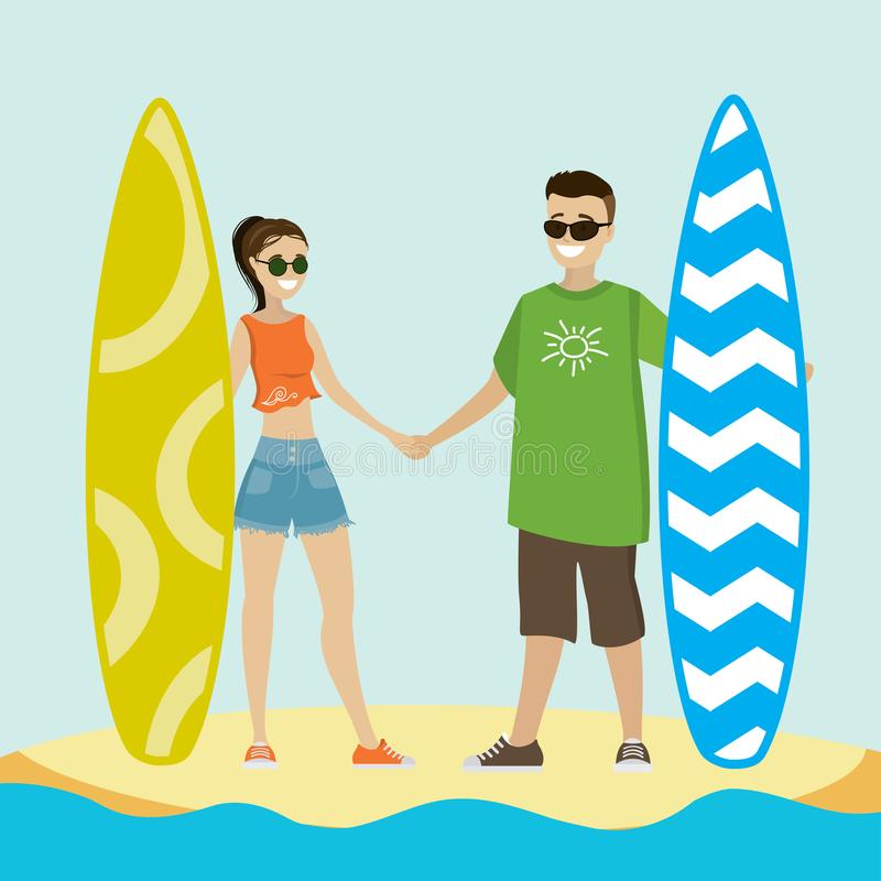 Caucasian man and woman on surfing vacation. Cool couple surfer characters with surfboard standing,caucasian man and woman on surfing vacation, vector stock illustration