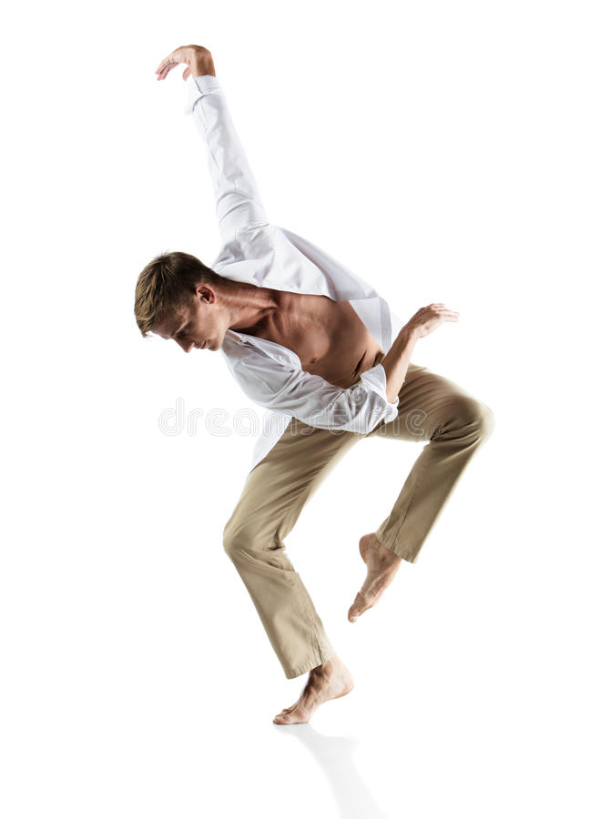 Caucasian manlig dansare arkivfoton