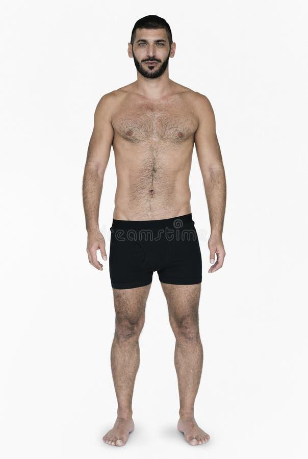Caucasian manlig modell On White Background för svart hår arkivfoto