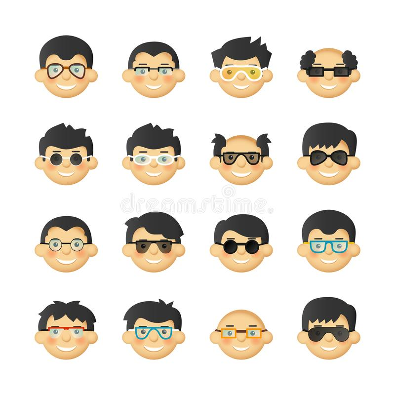 Caucasian men head avatar icon set with eyeglasses and rosy cheeks. Caucasian men head avatar icon set with eyeglasses and rosy cheeks stock illustration