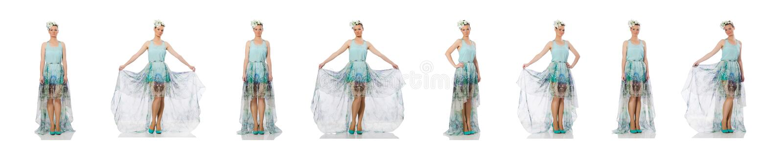 Caucasian model in blue floral dress isolated on white royalty free stock photography