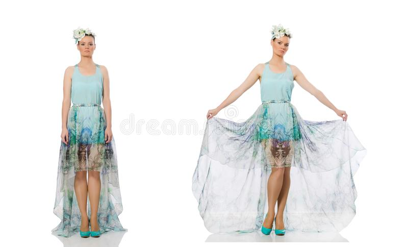 The caucasian model in blue floral dress isolated on white royalty free stock photography