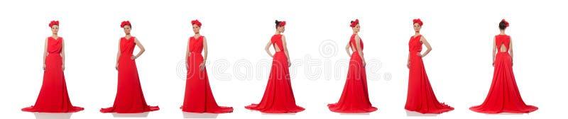 Caucasian model w czerwie? wiecz?r d?ugiej sukni odizolowywaj?cej na bielu dosy? obraz royalty free