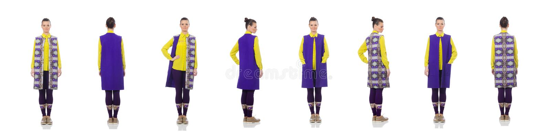 Caucasian model w purpury kamizelce odizolowywającej na bielu dosyć obraz royalty free