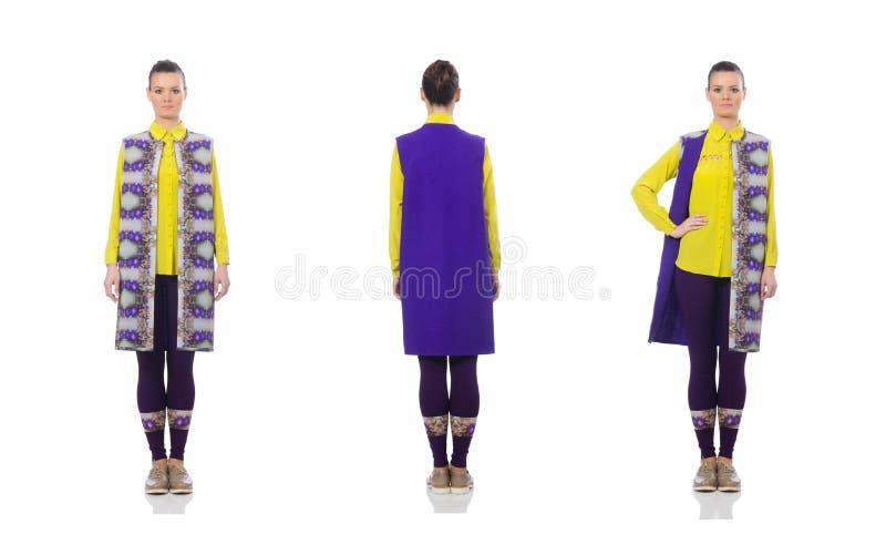 Caucasian model w purpury kamizelce odizolowywaj?cej na bielu dosy? obraz royalty free