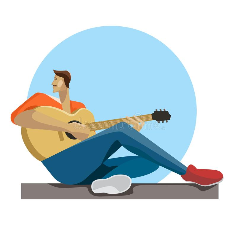 Caucasian musician sitting with the guitar in hands. Hipster man playing the acoustic guitar. Guitarist practicing in playing the guitar. Vector flat design royalty free illustration