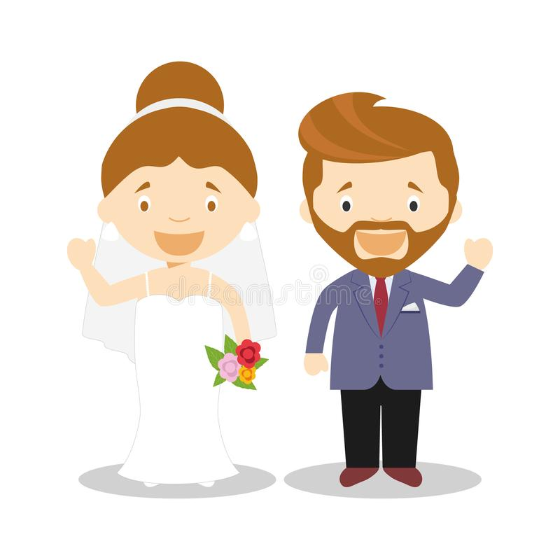 Caucasian newlywed couple in cartoon style Vector illustration royalty free illustration