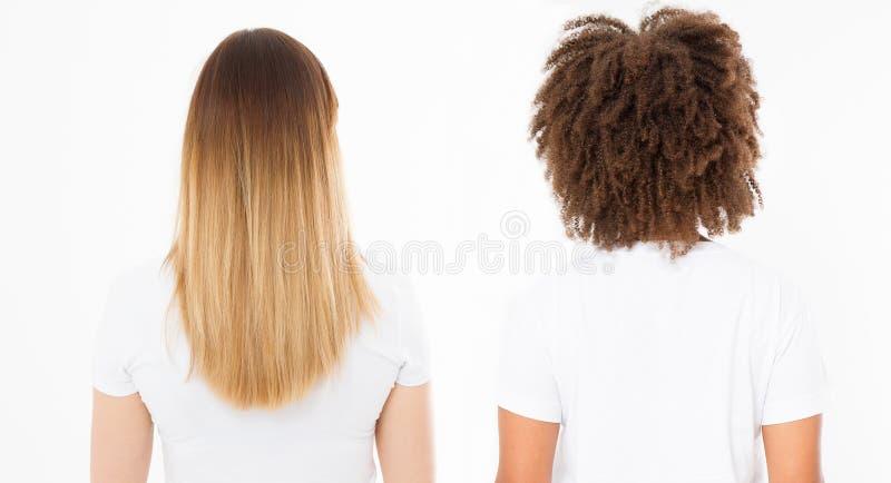 Caucasian och afro kvinnahårtyp ställde in tillbaka sikt isolerad på vit bakgrund Afrikansk lockig frisyr, sunt blont hår för omb arkivbild